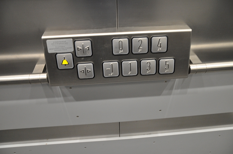 Push buttons inside the elevator